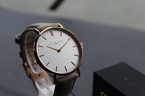 Elie Beaumont Oxford Large Watch Stone strap, White face