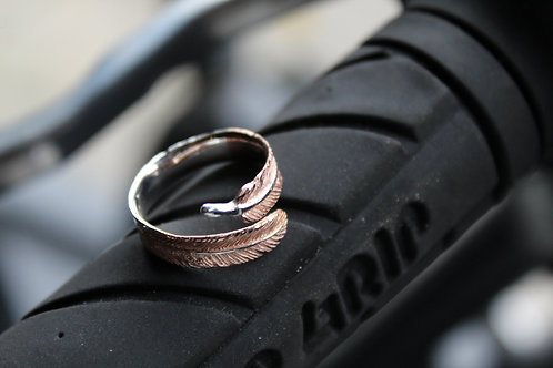 Rose Gold and Silver Adjustable Feather Ring
