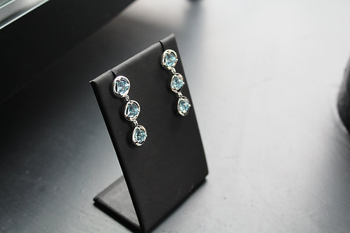 Sterling Silver Triple stone Blue Topaz Earrings