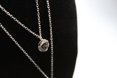 Silver Peony and Grey Pearl Necklace