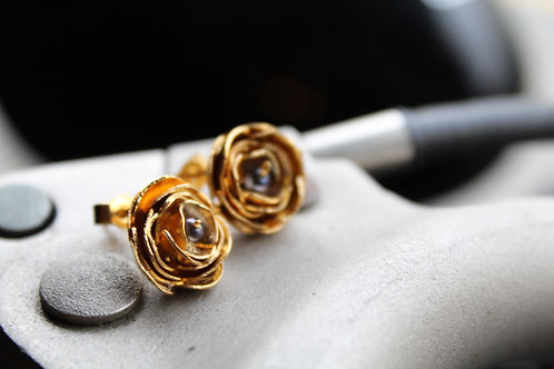 22ct Vermeil Gold Peony & Pearl Earrings