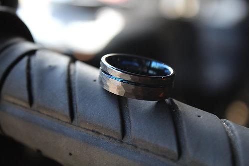 Unisex Hammered Tungsten Carbide Ring