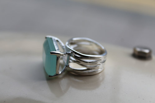 Baguette Cut, Aqua Chalcedony Silver Cocktail Ring