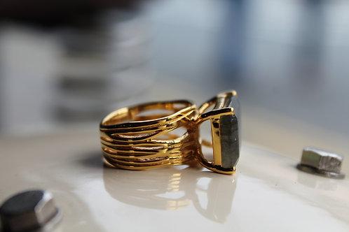 18ct Vermeil Gold Baguette Cut Labradorite Cocktail Ring
