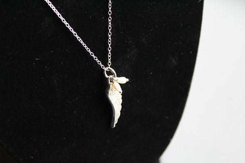 Pearl & Silver Angel Wing Necklace
