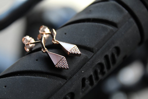 Rose Gold Plate Diamond Drop Earring