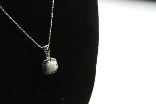 Sterling Silver Marcasite Opalite Necklace