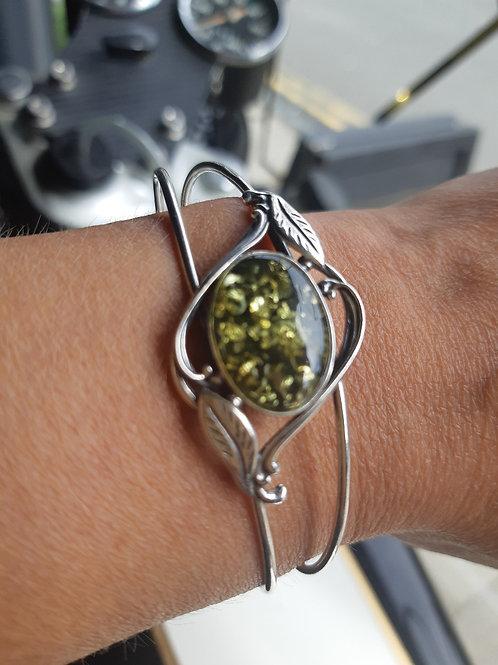 Silver 'Green' Amber Cuff