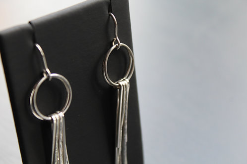 Sparks Silver Strand Double Earrings