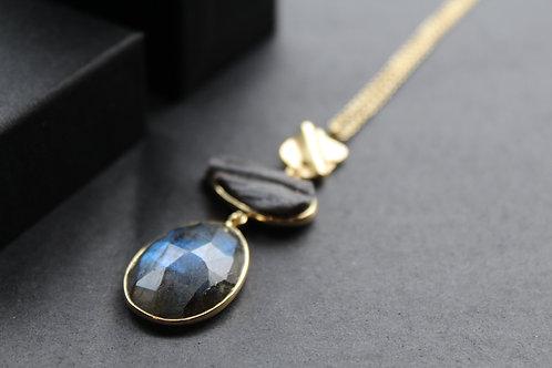 Desert Drussy and Labradorite Drop Necklace