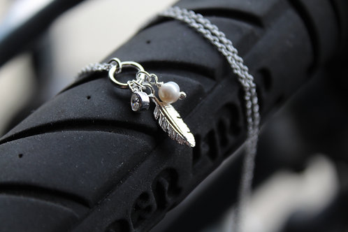 Silver Feather Cluster Necklace