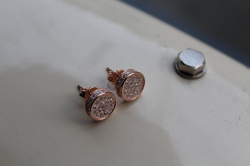 9mm Sterling Silver Rose Gold Plated Stud Earrings with Micro Set Cubic Zircona