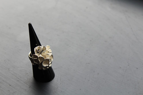 Sterling Silver Coral Cluster Ring