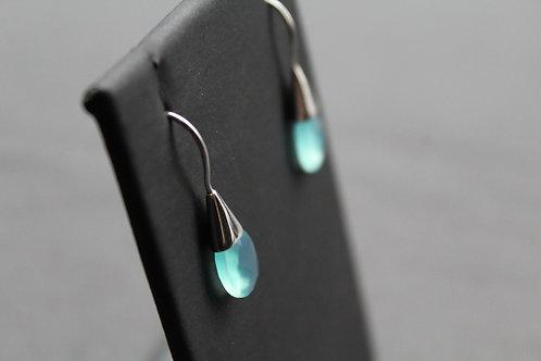 Faceted Aqua Chalcedony Drop Earrings