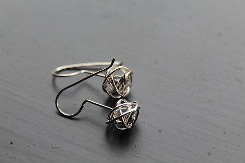 Caged Pearl Silver Drop Earrings in Black