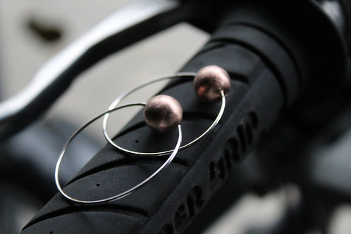 Sterling Silver Hoop Earrings with Rose Gold Plated Ball