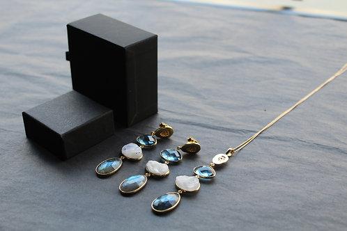 Iolite, Rainbow Moonstone & Labradorite Pendant