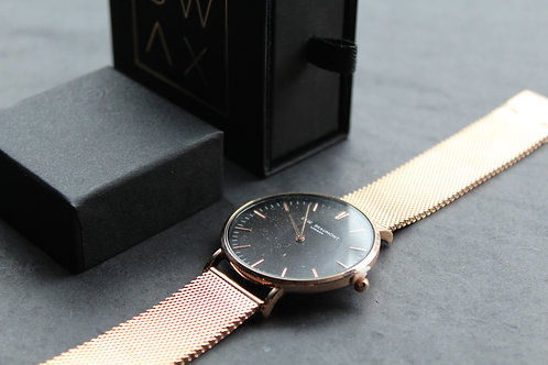 Elie Beaumont Oxford Large Mesh Watch Black Dial, Rose Gold Strap