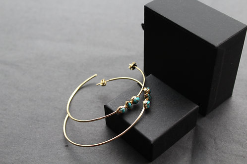Copper Turquoise Large Hoops