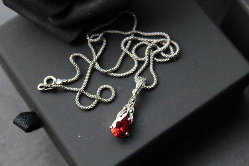 Cubic Zirconia Garnet Marcasite Pendant & Chain