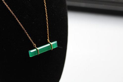 Baguette Cut Green Onyx on 18ct Vermeil Chain