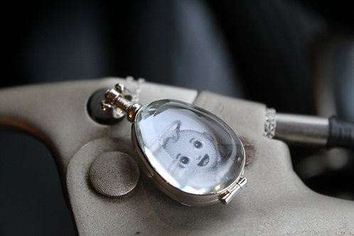 Double Sided Vintage Silver Oval Locket with Chain
