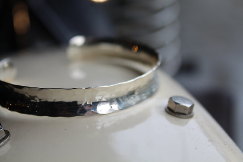"Small ""Hammered"" Effect Sterling Silver Concave Bracelet"