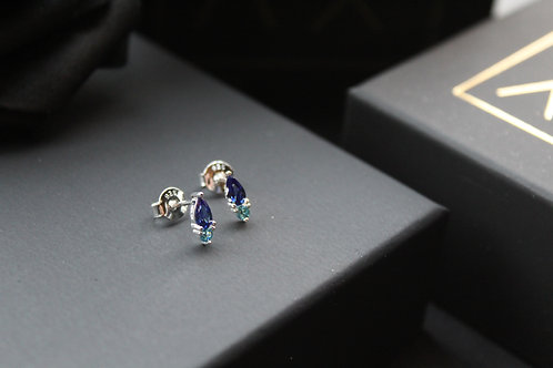 Two Tone Blue Cubic Zirconia Studs