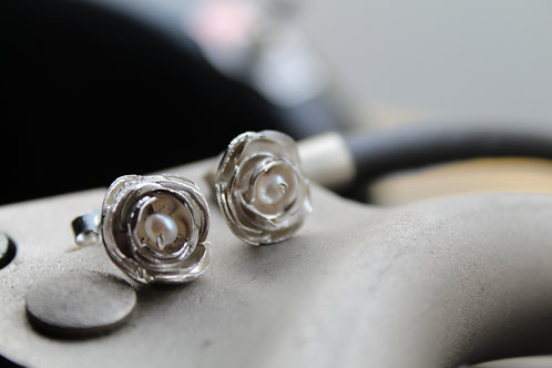 Silver Peony and Pearl Studs