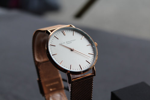 Elie Beaumont Oxford Large Mesh Watch White Dial, Rose Gold Strap
