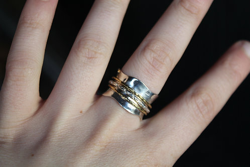 Glitzy Spinning Silver and Brass Banded Ring
