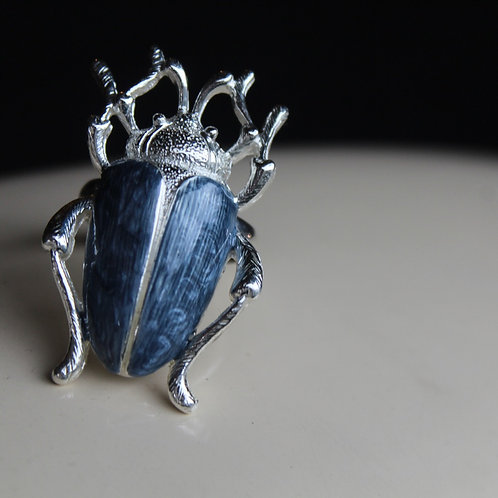 Blue Enamel Beetle Ring