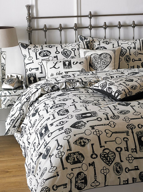 Riva Paoletti Keys Double Duvet Cover Set - Linen/Black - Reversible Graphic Key