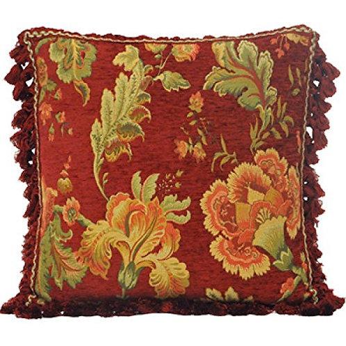 Fairvale Floral Woven Tassled Cushion Cover, Burgundy, 55 x 55 Cm