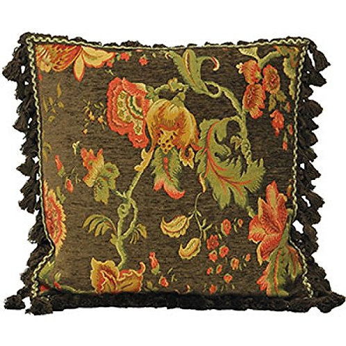 Fairvale Floral Woven Tassled Cushion Cover, Black, 55 x 55 Cm