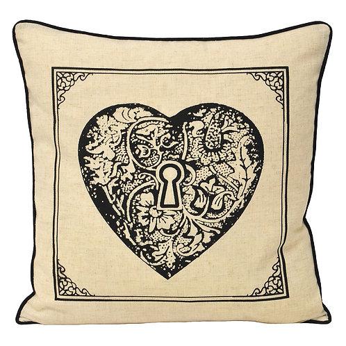 Keys Heart Cushion Case 45cm x 45cm  by Riva Paoletti