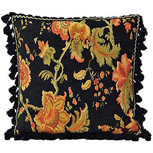 Fairvale Floral Woven Tassled Cushion Cover, Black, 55 x 55 Cm