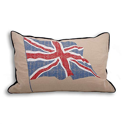 Vintage Crossed Flag Union Jack Cushion Cover, Linen/Red/Blue, 40 x 60 Cm