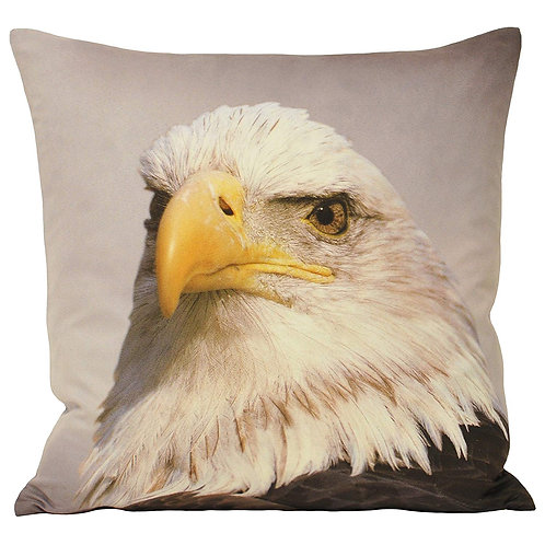 Animal Eagle Cushion Cover - Animal Print Design - Faux