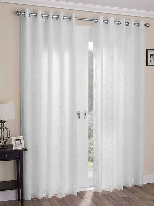 Venice White Lined Voile Panel