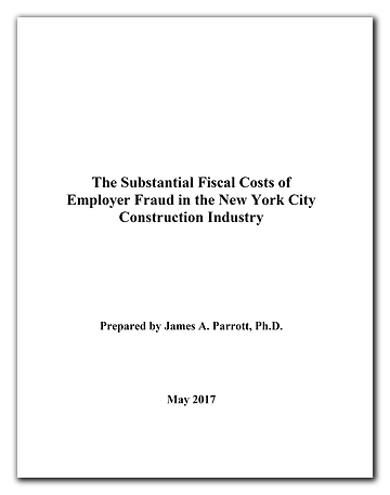 May 2017 Cost of NYC Construction Employ