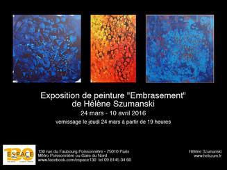 """""""Embrasement"""", une exposition de peinture de Hélène Szumanski"""