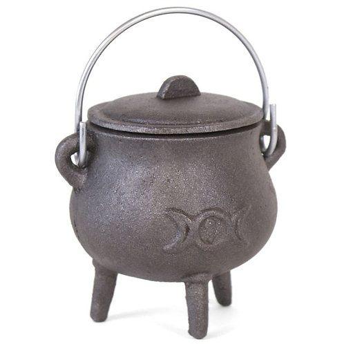 Potbelly Cast Iron Cauldron with Triple Moon Design