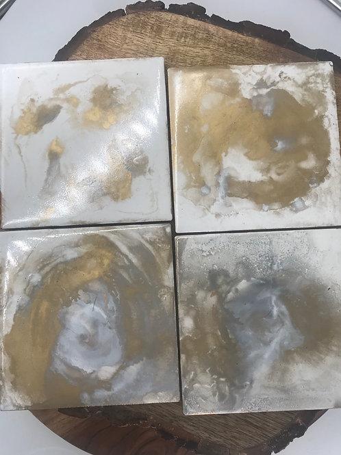 Metallic Gold n cream coasters