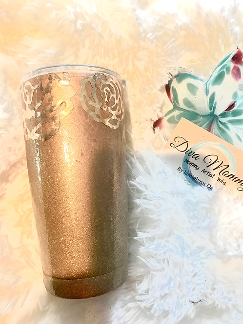 Rose Gold Foil Roses with gold glitters