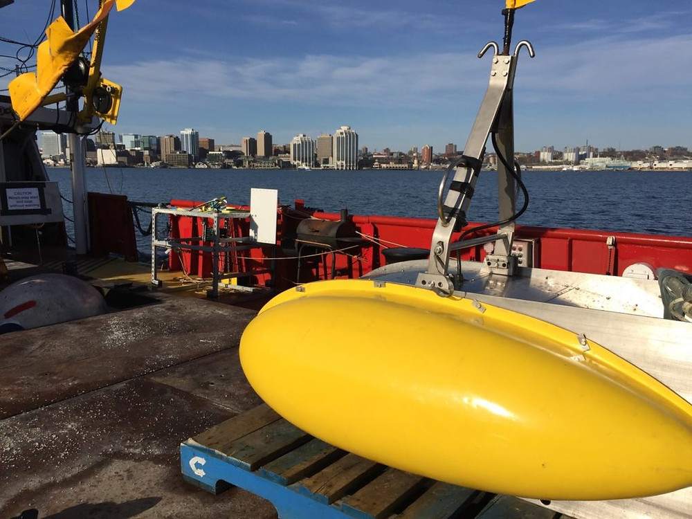 Geoforce is testing its improved Geoforce DTS®-5 Boomer/Sparker sub-bottom profiler in Halifax Harbour and Approaches. This test is conducted in collaboration with NSCC's Ocean Technology Advanced Diploma program with support from Innovacorp's Acceleration initiative. The survey vessel is the LeeWay Odyssey. NSCC students are on board with their new drop camera and the survey was launched from the future site of the COVE project on the Dartmouth waterfront.