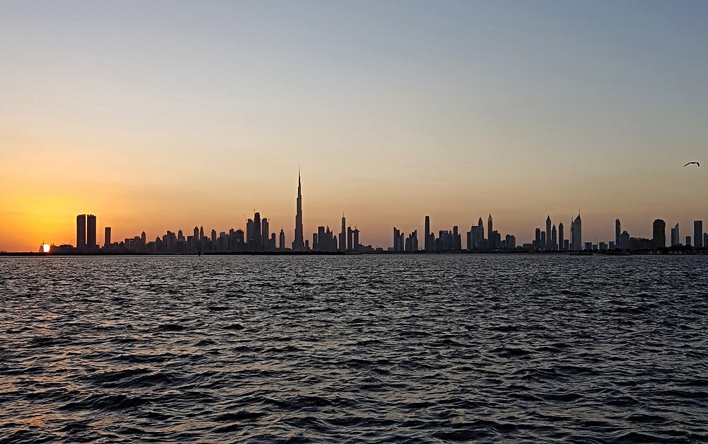 View of the city skyline from Dubai Creek Harbour