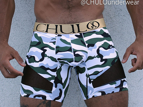 CHULO AirFlow Sport Boxer in White & Green Camouflage