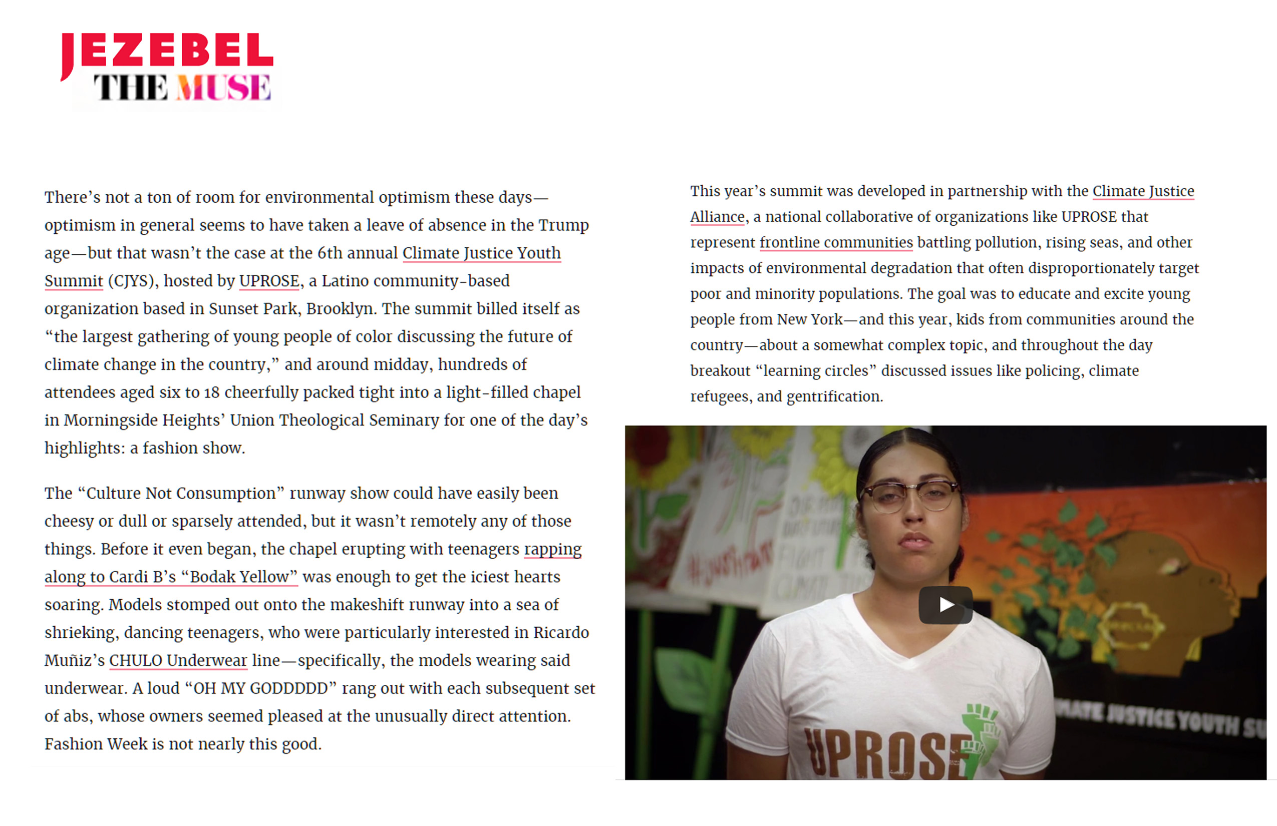 Jezebel The Muse Climate Justice Youth Summit Fashon Show article by E Shechet page 02