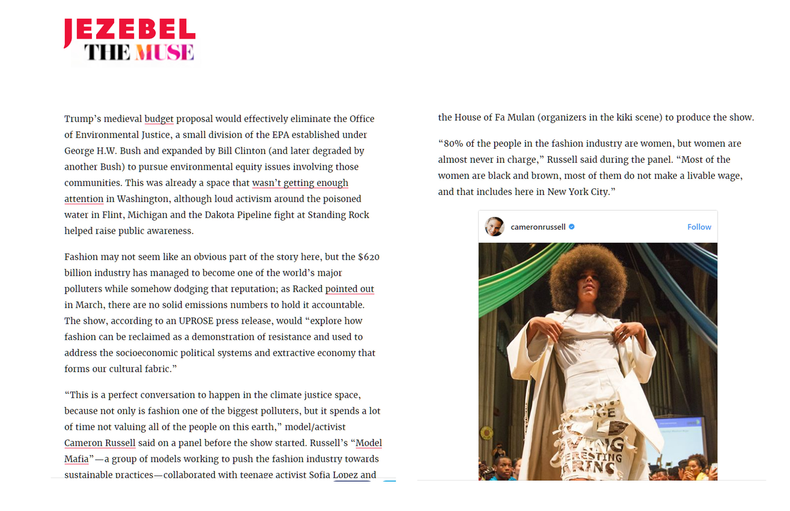 Jezebel The Muse Climate Justice Youth Summit Fashon Show article by E Shechet page 03